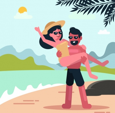 vacation painting man woman beach icons colored cartoon