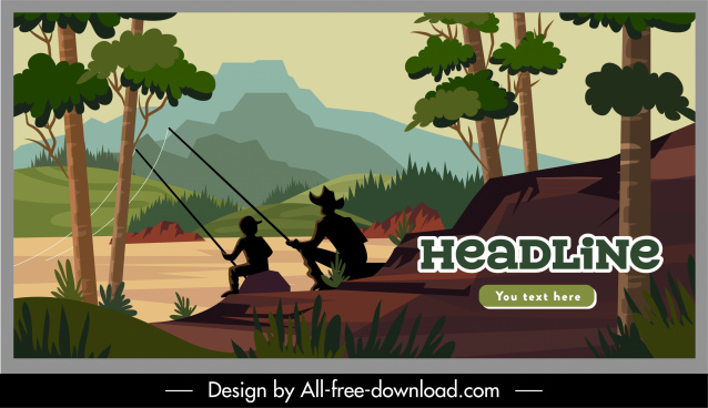 vacation poster fishing activity nature scene sketch