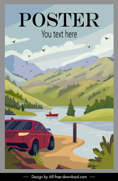 vacation poster nature lake mountain landscape sketch