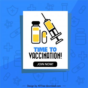 vaccination banner flat medical elements sketch