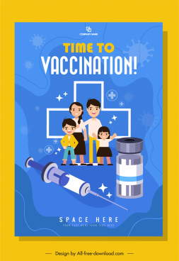 vaccination banner template family injection needle vaccine sketch