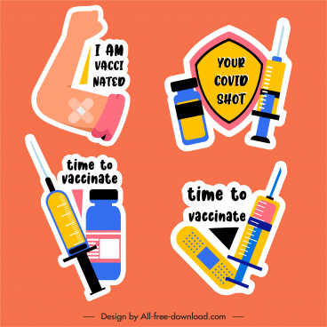 vaccination design elements flat colorful classic sketch