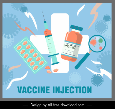 vaccination poster medical elements sketch flat colorful sketch
