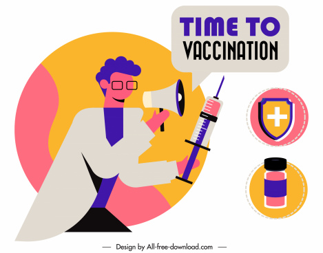 vaccination poster template colorful flat medical symbols sketch