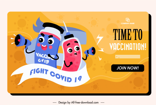 vaccination poster template funny stylized medical elements sketch