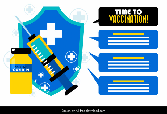 vaccination poster template injection needle shield vaccine sketch