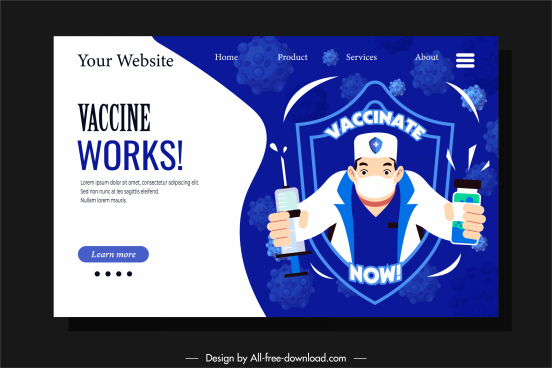 vaccination web site template doctor vaccine elements sketch