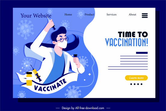 vaccination webpage template doctor medical elements sketch