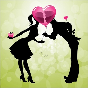 valentine39s day cartoon couple kissing silhouette vector