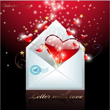 valentine background sparkling dynamic red hearts envelope sketch