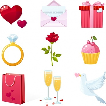 valentine39s day greeting cards vector elements beautifully