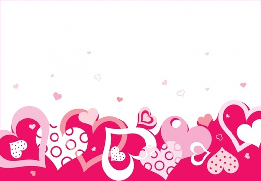 valentines background flat hearts motion bright red white