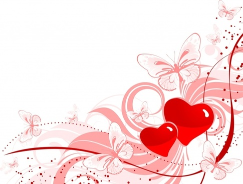 valentine background red heart butterflies sketch dynamic design