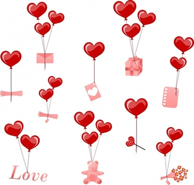 valentines design elements floating hearts balloon gifts icons