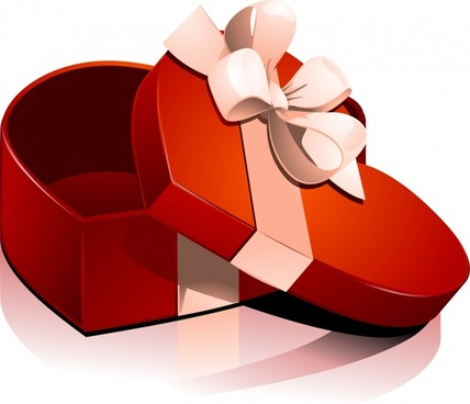 valentine39s day heartshaped gift box vector