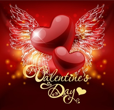 valentine39s day heartshaped wings vector bright