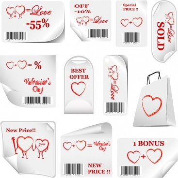 valentine sale tags hearts decor red white design