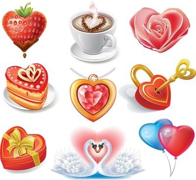 valentine39s day romantic elements vector