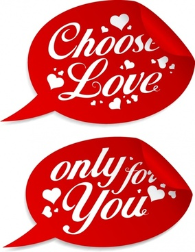 valentine tag templates red speech bubble hearts decor