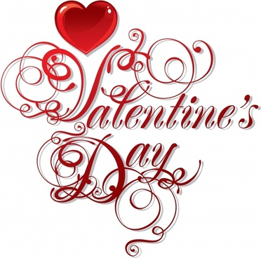 valentine banner red heart calligraphic decor