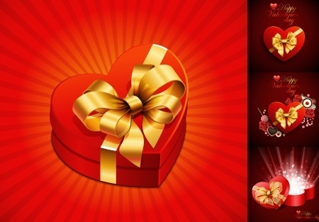 valentine background sets red heart gift box decoration