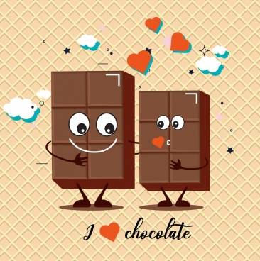 valentine background cute stylized chocolate couple icon