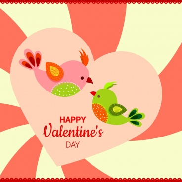 valentine background design colorful heart and birds decoration