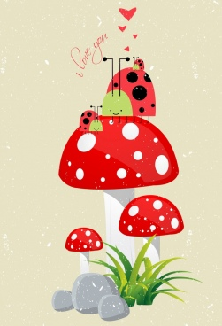 valentine background red mushroom ladybirds icons retro design