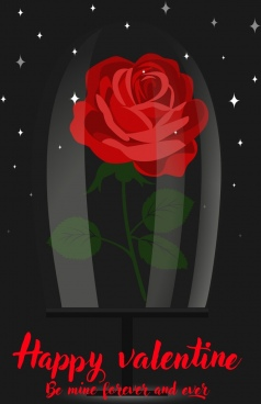 valentine background red rose icon sparkling dark backdrop