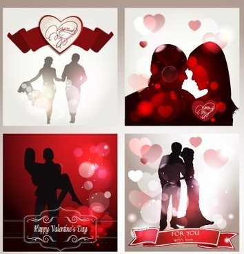 valentine backgrounds with lovers silhouettes vector