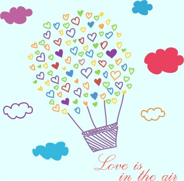 valentine banner balloon hearts icon colorful handdrawn sketch