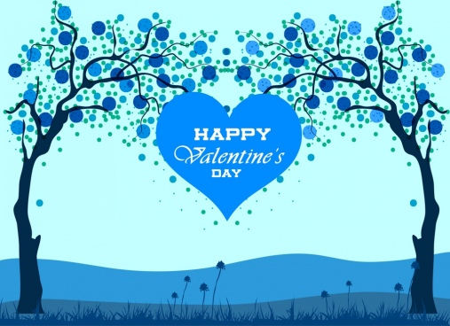 valentine banner blue heart tree icons decoration
