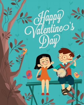 valentine banner cute couple birds tree colored cartoon