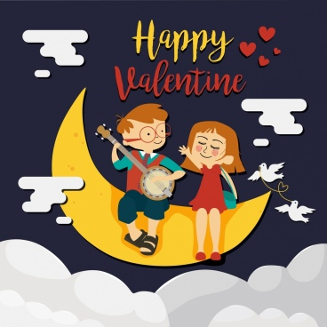 valentine banner dreaming childhood theme crescent kids icons