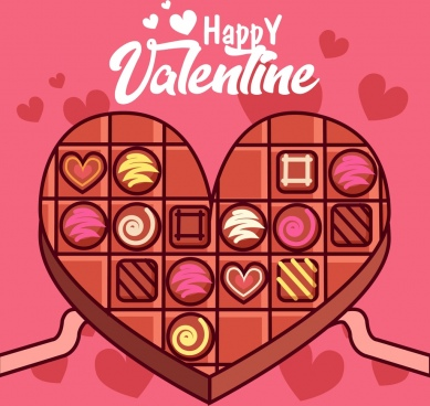 valentine banner heart chocolate cake icon