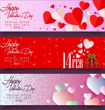 valentine banner sets heart calligraphic paper cut decor