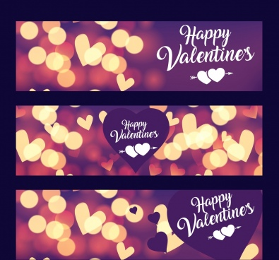 valentine banner templates shiny bokeh hearts decoration