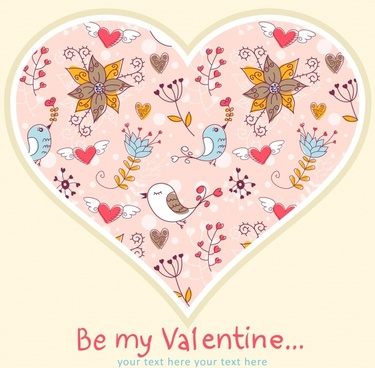 valentine bird pattern vector line art
