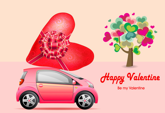 valentine card design with cute hearts