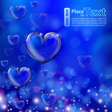 valentine card illustration with shiny hearts on blue