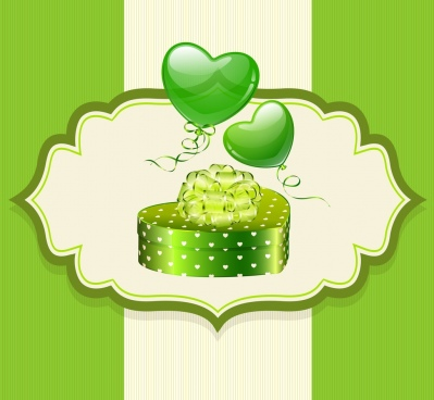 valentine card template green design heart box icons