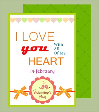valentine card template hearts ribbon on white background