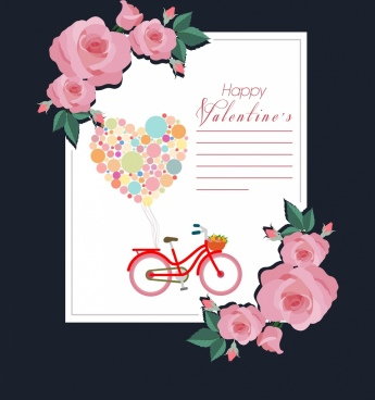 valentine card template pink rose balloons heart decoration