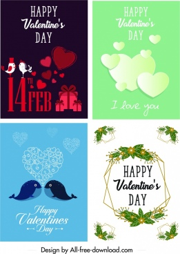 valentine card templates flat hearts animals leaves decor