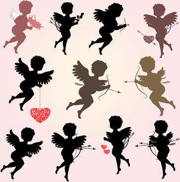 valentine cupids design elements vector
