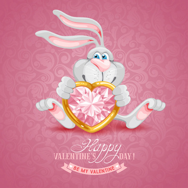 valentine cute bunny background vector