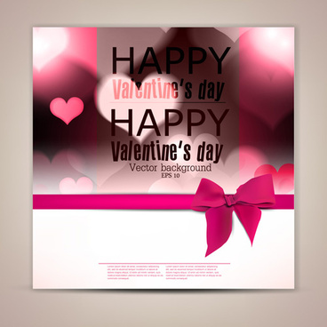 valentine day banners and bow vector