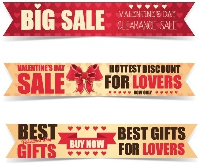 valentine day big sale vector banners set