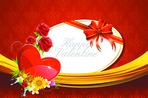 valentine day creative background vector set