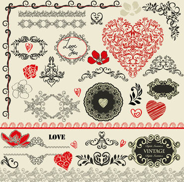 valentine day decorative frames and borders vector